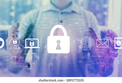 Internet network security concept with young man holding his hands