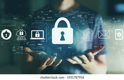 Internet network security concept with young man in the night