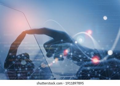 Internet network technology, IoT, digital software development, computer code, modern tech concept. Internet network with wireless connection, cloud computing, computer script on laptop