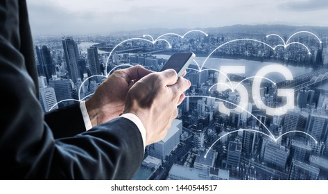 Internet networking, 5G internet and wireless technology. Businessman using mobile smart phone in the city, and 5G internet network