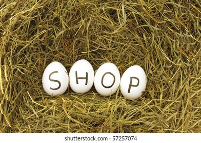 internet or online food shop concept with eggs on green hey