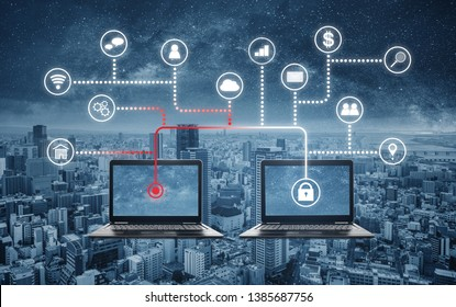 Internet and online network security system. Laptop computer hacking, and stealing data from computer laptop, and application programming interface icons