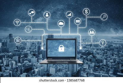 Internet and online network security system. Laptop computer with lock icon on screen and application programming interface icons