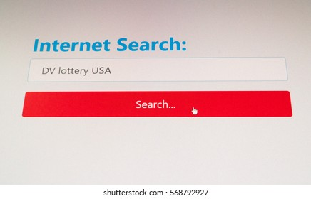 Internet Search for DV Lottery USA - a diversity visa lottery program entry details or results page concept