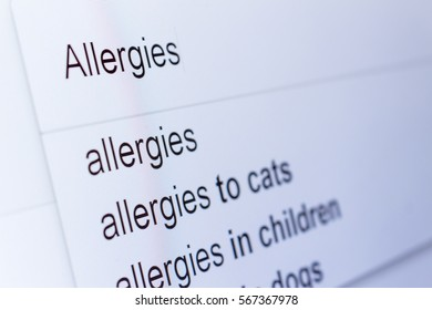 An internet search for information on Allergies
