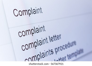 An internet search for information on Complaint