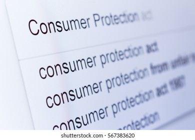 An internet search for information on Consumer Protection