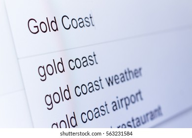 An internet search for information on Gold Coast