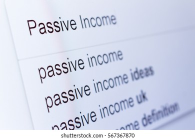 An internet search for information on Passive Income