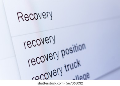 An internet search for information on Recovery