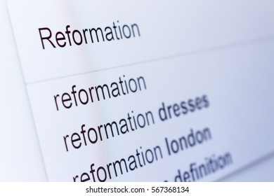 An internet search for information on Reformation