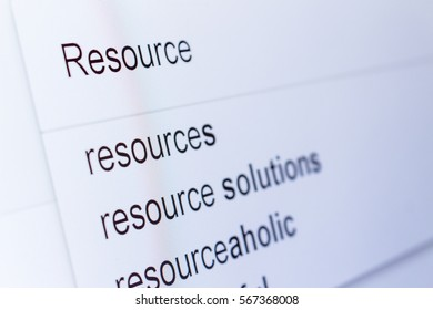 An internet search for information on Resource