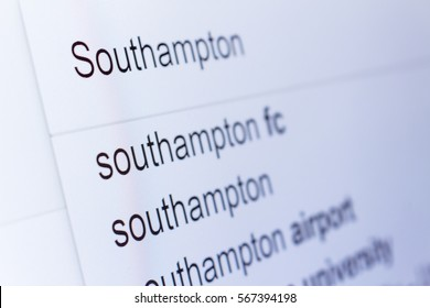 An internet search for information on Southampton