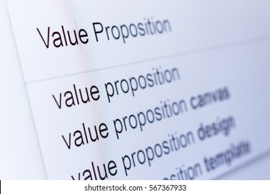 An internet search for information on Value Proposition