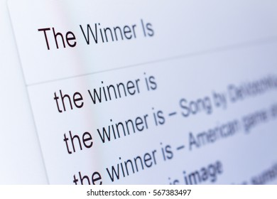 An internet search for information on The Winner Is
