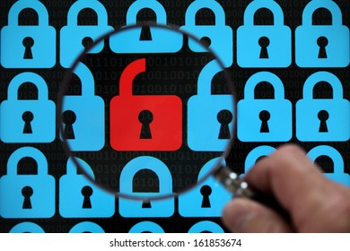 Internet security concept open red padlock virus or threat of hacking