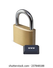 internet security concept with padlock and computer key on white background