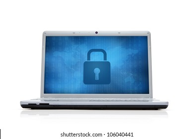 Internet security lock at the computer monitor isolated on white background