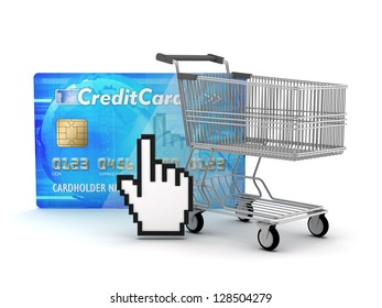 Internet shopping - shopping cart, credit card and cursor hand