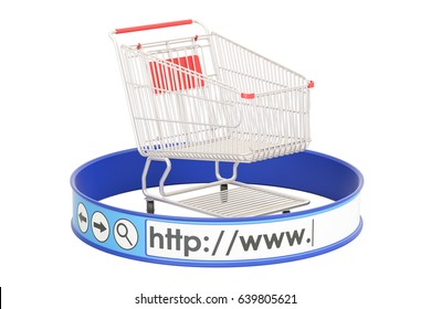 internet shopping concept, 3D rendering isolated on white background