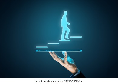 Internet technology companies growth concept. Business improvement, personal development and growth concept. Business person motivate to be market leader and the best.
