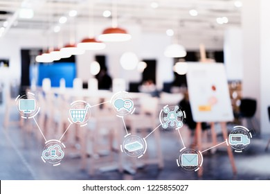 Internet of things conceptual.  icons and blurred of modern shop or cafe. Icons set means the modern shopper's  journey.