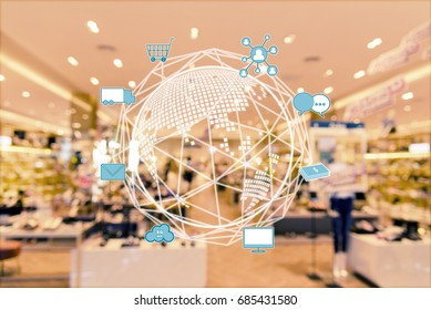 Internet of things conceptual. Omni Channels icons and blurred shopping center.