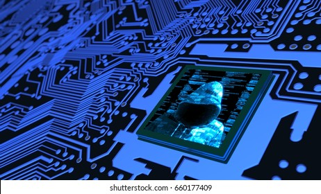 Internet of things cybersecurity concept circuit board with hacker and computer code on cpu 3D illustration