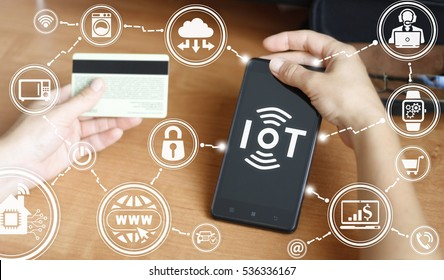 Internet of things (IoT) business mobile smart phone devices tech concept. Intelligent wifi house digital home technology