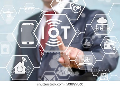 Internet of things (IoT) concept. Businessman presses IoT solution represented by symbol connected with icons of typical IoT. Intelligent house, car, camera, watch, washing machine. Smart digital home