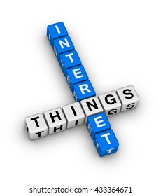 Internet Of Things IOT crossword puzzle 3d illustration
