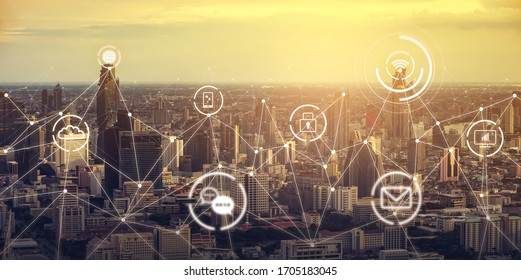 internet of things IOT smart futuristic city landscape with information communication technology ICT concept, wireless data transmission connection transfers and cloud data storage, evening sunset