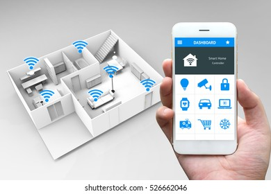 Internet of things , iot , smart home and network connect concept. Human hand holding white phone and smart home application with 3d rendering room and wifi icons