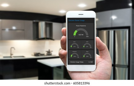 Internet of things , iot , smart home , kitchen and network connect concept. Human hand holding white phone and smart home application to count power usage energy with blur kitchen background