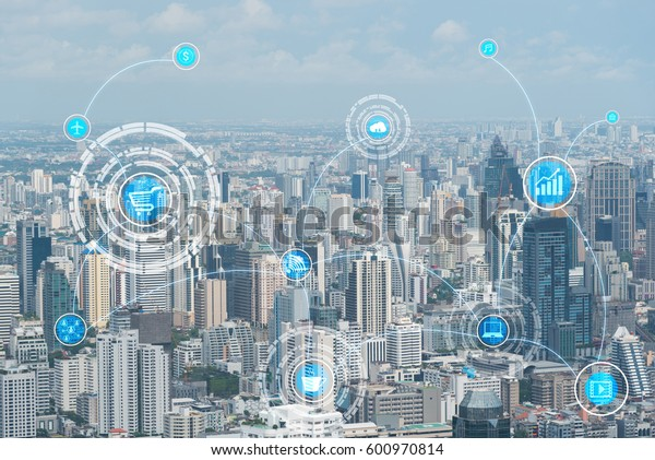 internet of things (IOTs) over modern city for technology background