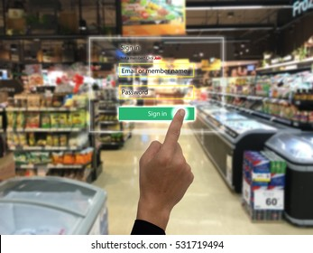 internet of things marketing concepts,smart augmented reality,customer us ar application to sign in to the system for buy,search a product,special price, for security reason