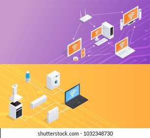 Internet of things smart home computer remote controlled household appliances 2 isometric banners set background  illustration