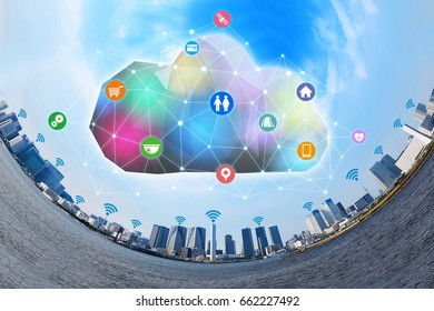 Internet of Things(IoT) and Cloud Computing concept. Smart City. Sensor Network. Cyber-Physical Systems(CPS). Internet of Everything(IoE).