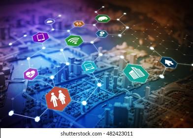 Internet of Things(IoT) concept abstract image visual, smart city, smart grid, sensor network, environmental monitoring