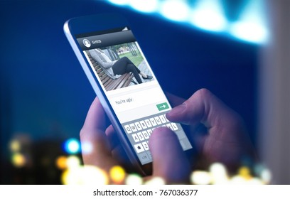 Internet trolling and cyber bullying concept. Person sending mean comment to picture on an imaginary online social media website with smartphone late at night.
