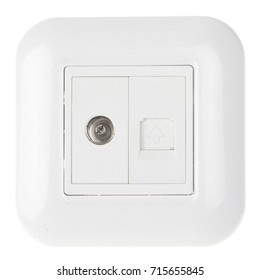 internet and TV socket for cable isolated