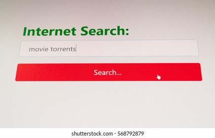Internet user trying to find and download movie torrents