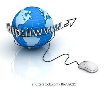 Internet World Wide Web Concept, Earth globe with computer mouse with arrow cursor on white background