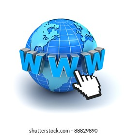 Internet world wide web concept, Earth globe with www text and computer hand cursor isolated on white background