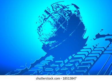 internet www planet technology keyboard light dynamic concept
