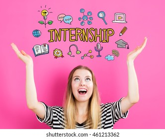 Internship concept with young woman reaching and looking upwards
