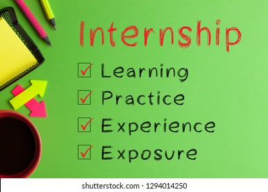 Internship  diagram text messages, cup of coffee and office supplies on green background. Business Concept