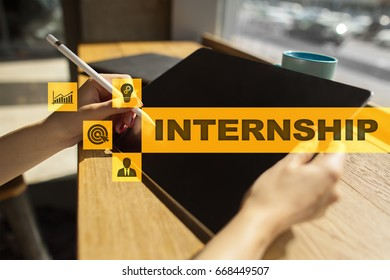 Internship text on virtual screen. Business, education and internet concept.