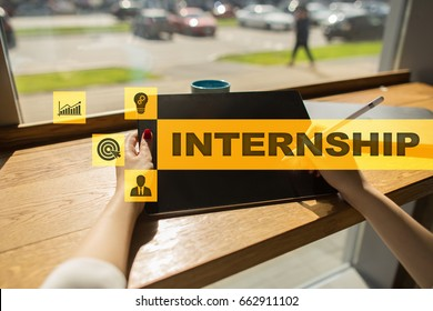 Internship text in search bar on virtual screen. Business and education concept.