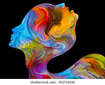 Interplay of colorful and surreal human profiles on the subject of love, passion, romantic attraction and unity
